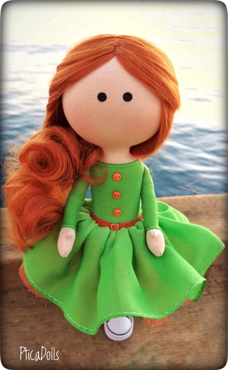 Bright redhead girl Doll as corporate mascot Apple green dress OOAK textile tilda doll Art cloth fabric office decor doll by PticaDolls on Etsy