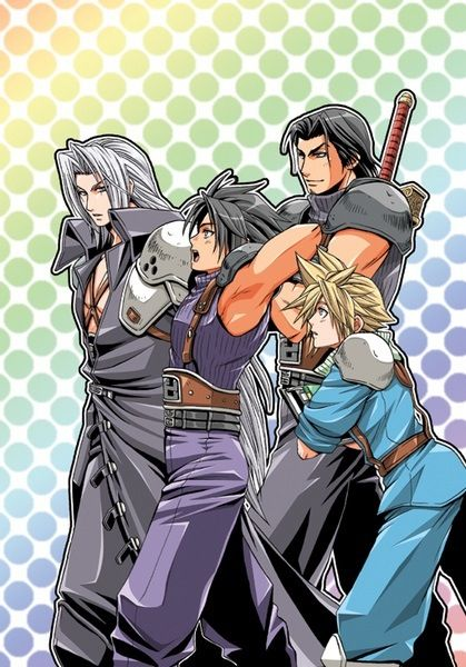Angeal Hewley, Sephiroth, Zack Fair, and Cloud Strife. Fan art. Final Fantasy VII: Crisis Core.