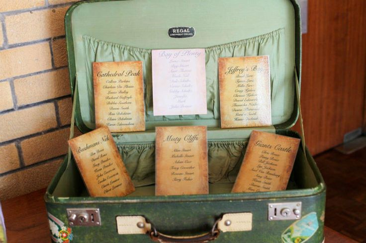 Vintage props, Seating Plan - Green Suitcase.  Gift Table.