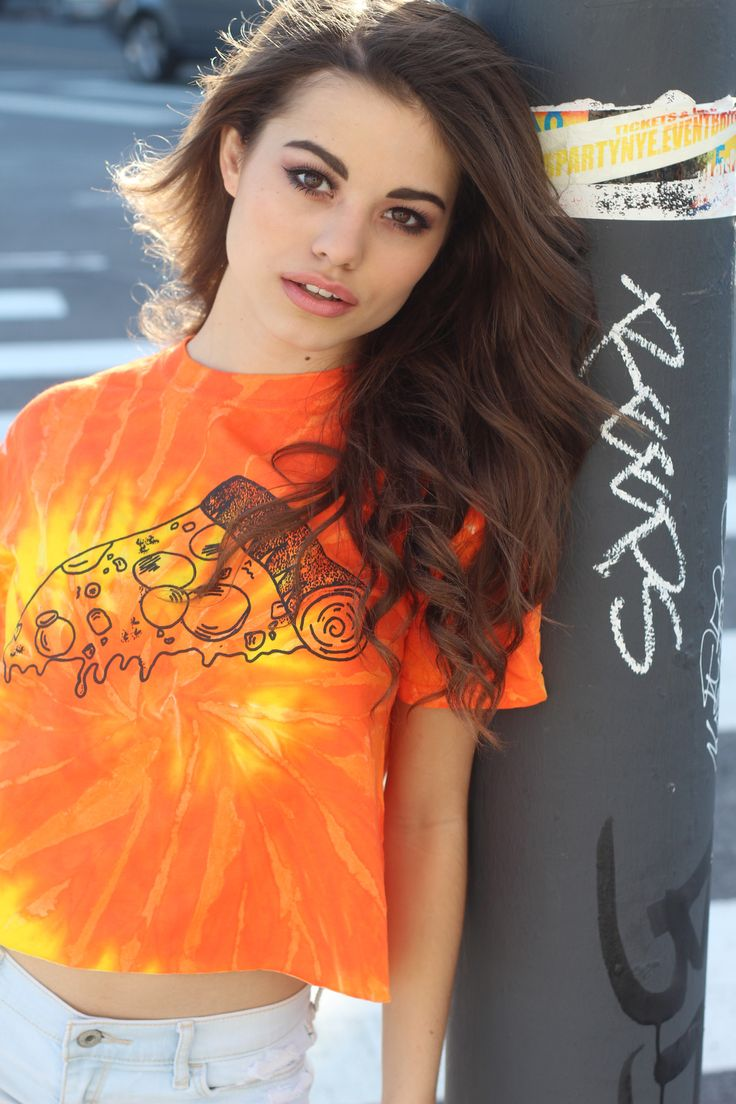 Drippy Pizza Yellow and Orange Tie-Dye Graphic Crop Top