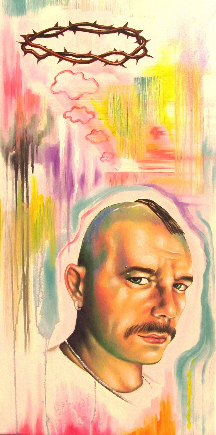 Self portrait in trip with crown of thorns - oil on canvas - cm80x40 - 2014
