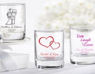 Personalized Shot Glasses.  Discounts for volume orders. Perfect for wedding favours! Includes design.  #thingsengraved #thingsengravedgifts