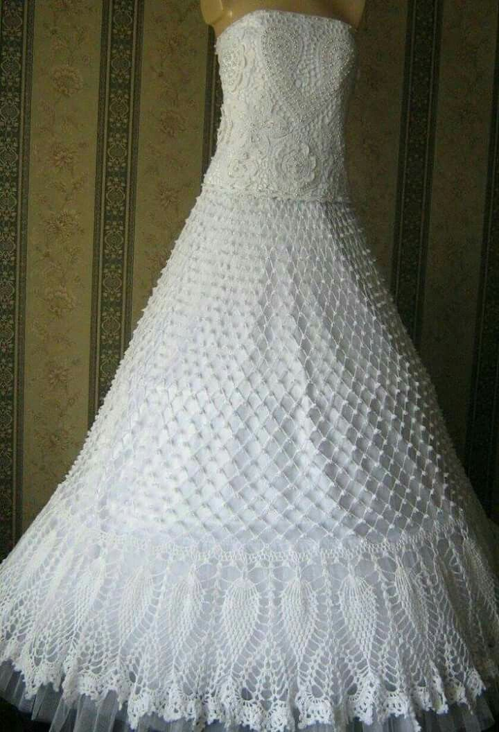 449 best images about crochet wedding dresses on pinterest for Crochet lace wedding dress pattern