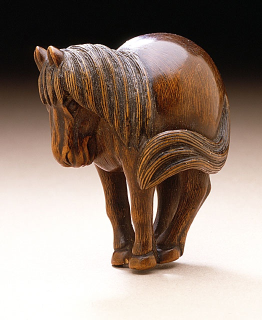 Shiriya Pony, late 18th-early 19th century  Netsuke, Wood with sum