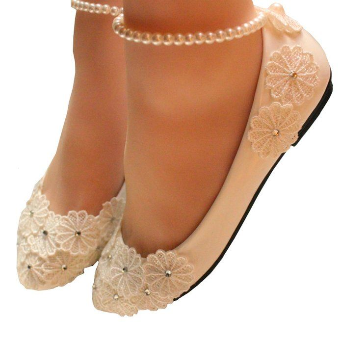 Getmorebeauty Women's Mary Jane Flats With Pearls Flowers Beach Wedding Shoes 5 B(M) US