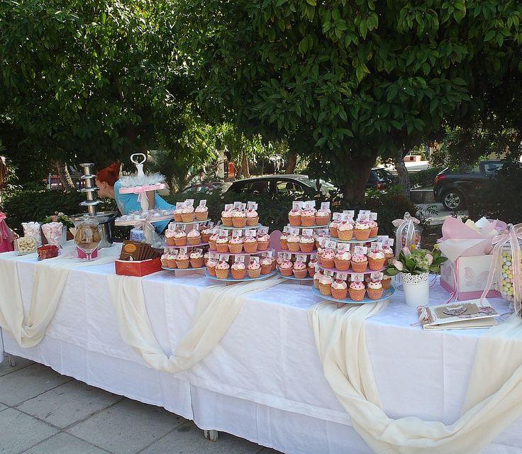 Vintage στυλ σε Βάπτισης, με candy μπαρ,  καραμέλες, κουφέτα, γλυκά και λουλούδια