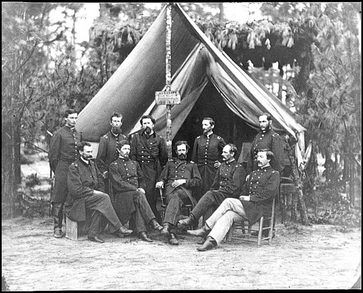[Petersburg, Va. Surgeons of 3d Division before hospital tent] from photographs from the main eastern theater of war, the siege of Petersburg, June 1864-April 1865. Negative: glass, wet collodion. L of Congress.