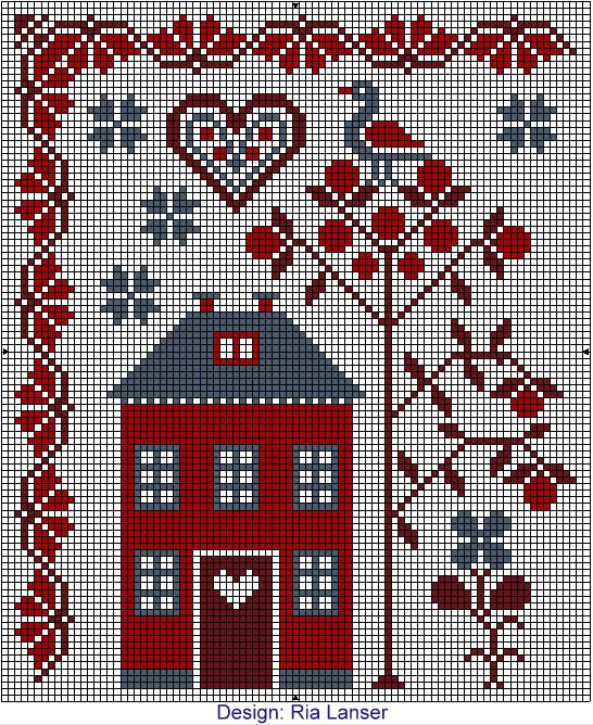Ria Lanser cross-stitch - free: 546 668 Pixels, Board Number, Crossstitch, Stitch Houses, Crosstitch, Embroidery