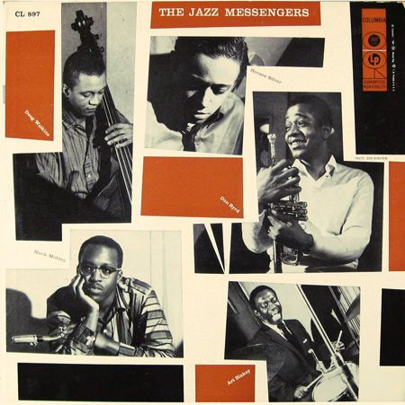 "The Jazz Messengers   Label: Columbia 897   12"" LP 1956  Design: Neil Fujita   Photo: Don Hunstein"