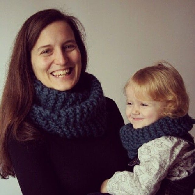 Olivia and Cleo wearing their WoolKiss' snood