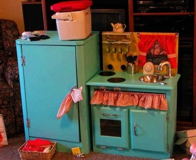 Sink and cooker play kitchen.