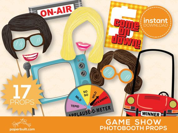 Game Show Photo Booth Props - Television, Vintage TV, Game Shows, TV, 1970s, Retro Television, Photobooth Props - Printable PDF - 17 Props