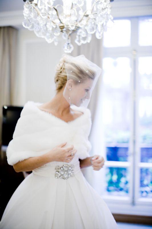 winter white wedding! snow - fur cape - black tie - classic - bride