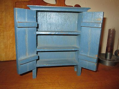 Primitive Small Farnhouse Wood Jelly Cupboard Old Blue 2 Door Pantry Hutch