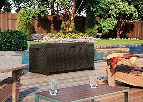 Suncast-Mocha-Storage-73-Gallon-Wicker-Resin-Deck-Box-Outdoor-Patio-Cushion-NEW