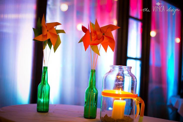 Vinca Design, football inspired wedding, paper windmill // focis esküvő, szélforgó