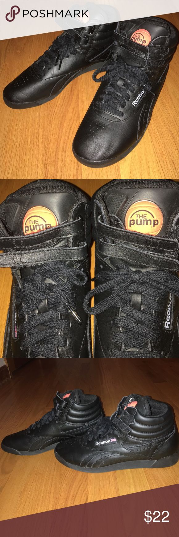 """Reebok Pump High Top Sneakers Reebok The Pump black high top sneakers with orange basketball """"The Pump"""" logo on tongue. Lace up with double Velcro at top Reebok Shoes Sneakers"""