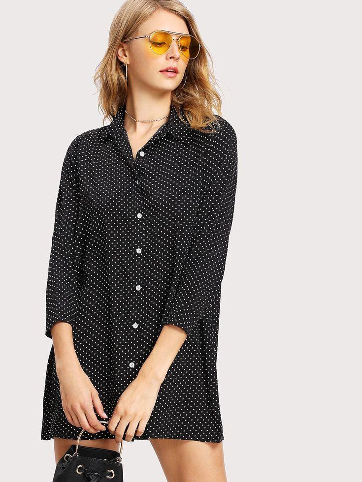 Dotted Shirt Dress