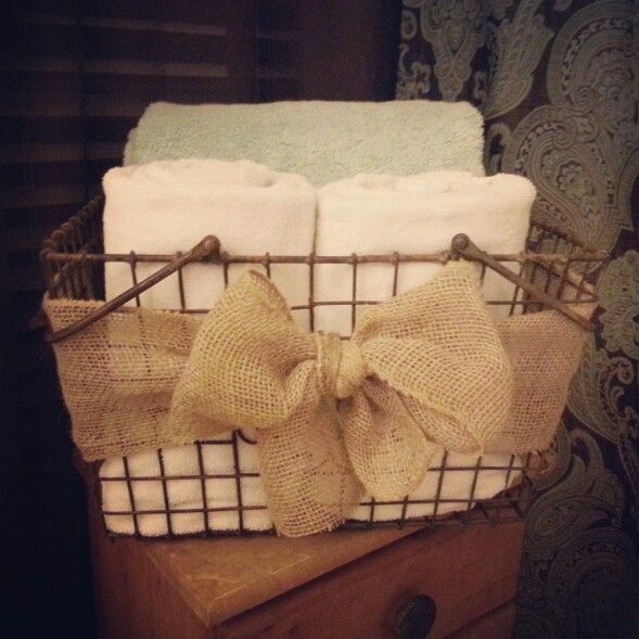 Burlap Bathroom Towel Basket