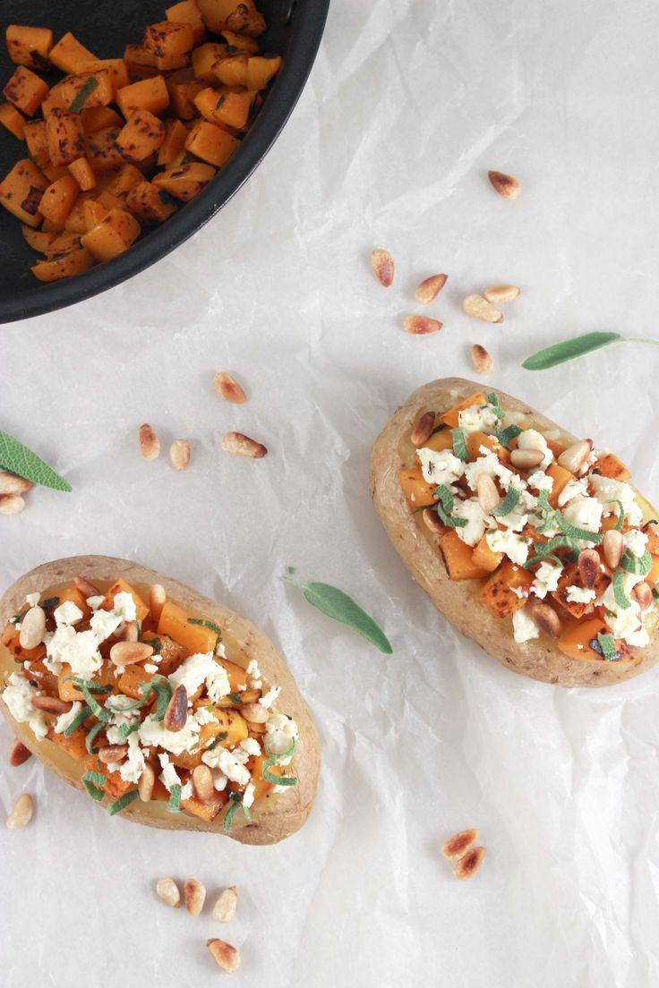 Aardappel met herfstvulling - pompoen, feta en pijnboompitten