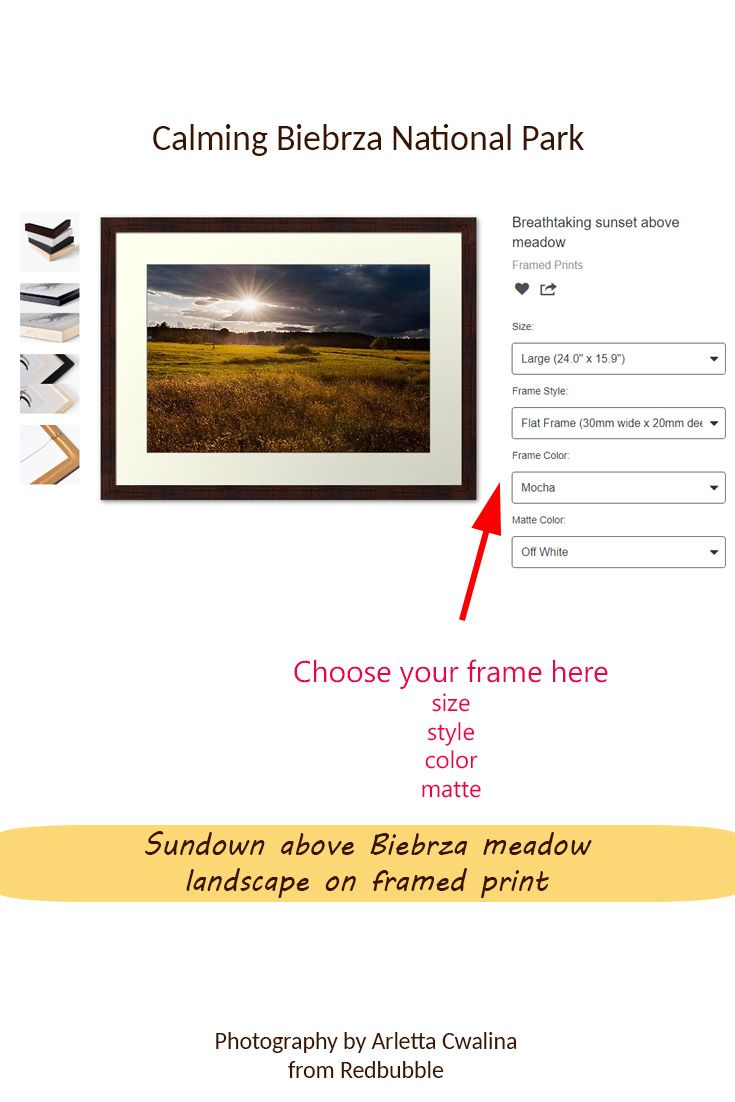 Choose your framed print style with sunset above Biebrza National Park landscape in Poland. Nature Photography by Arletta Cwalina/ @redbubble. See more clothes and home decor ideas and if you love it, feel free to share, maybe your friends would like to have it too :) #homedecor #framedprint #biebrza