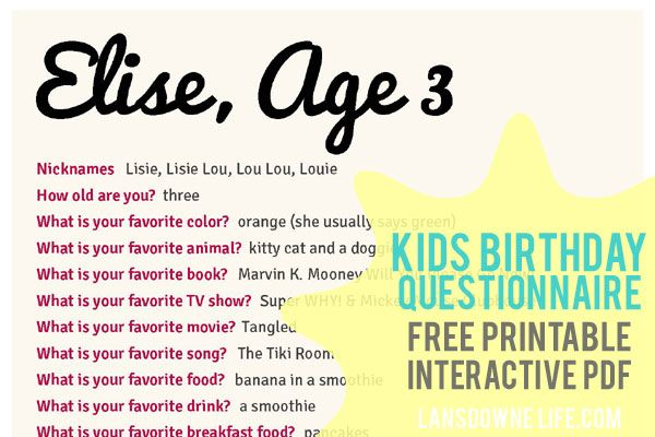 Printable Birthday Questions ~ Kids birthday interview questionnaire free printable form future children and
