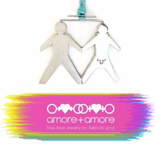 Precioso dije de plata. True Love Amore+Amore plata mexicana .925