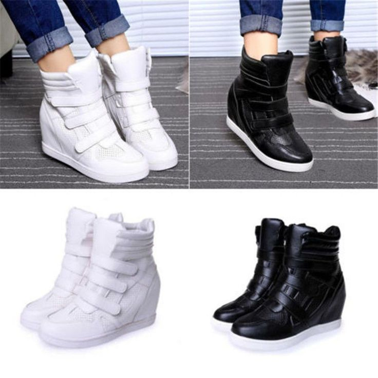 Fashion Womens High Top Hidden Wedge Sneakers Lace Up Casual Shoes Ankle Boots | Clothing, Shoes & Accessories, Women's Shoes, Athletic | eBay!