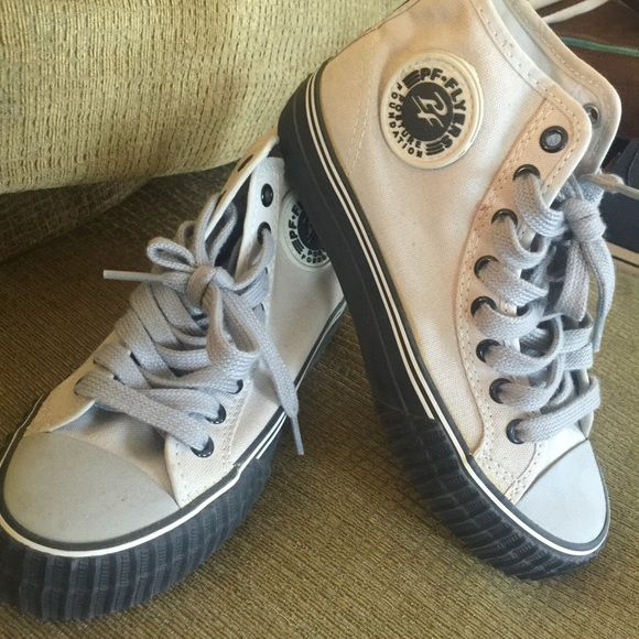 Grey and black pf flyers Purchased at shoe palace, unisex Shoes Sneakers
