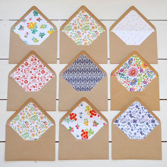 Use a template to line Kraft envelopes with pretty papers. Just beautiful.