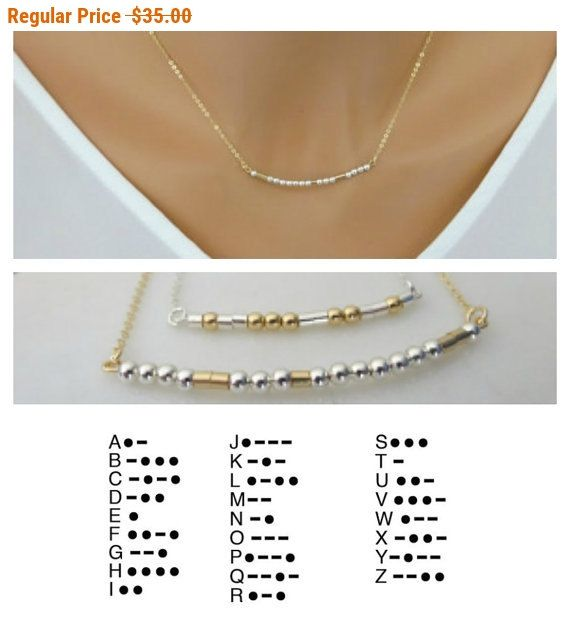 Morse code necklace, Personalized & custom jewelry, mothers necklace, name necklace, Gold fill, Sterling silver, secret message necklace
