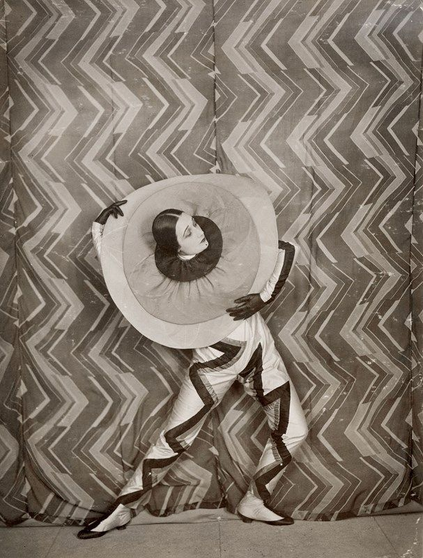 Sonia Delaunay's Fabric and Feminism  Wearing the Pierrot-Éclair costume designed by Sonia Delaunay, on the set of René Le Somptier's film Le P'tit Parigot, 1926