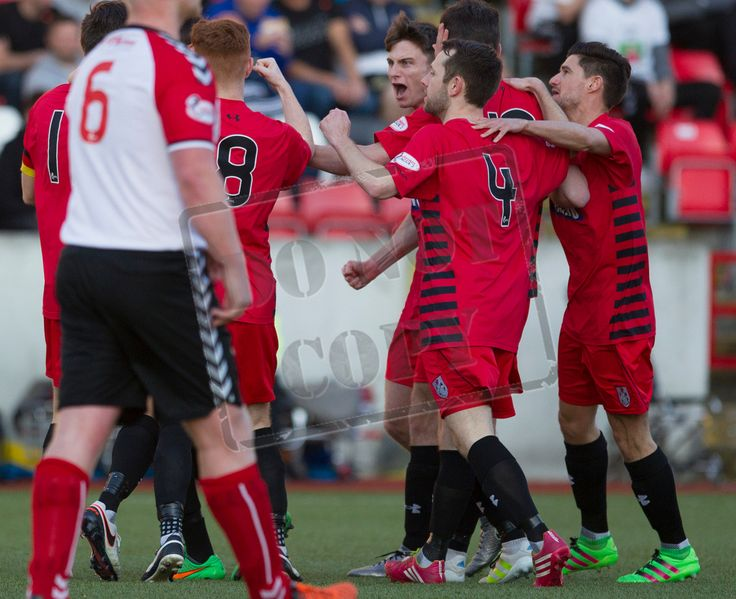 Queen's Park's players celebrate Sean Burns' penalty conversion penalty during the SPFL League One play-off game between Clyde and Queen's Park.