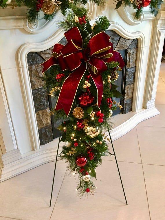 4 Pc Set Christmas Wreath Garland Burgundy Ribbons Free Shipping Cordless Pre Lit Original Christmas Wreaths Christmas Wreaths Garlands Country Christmas Decorations