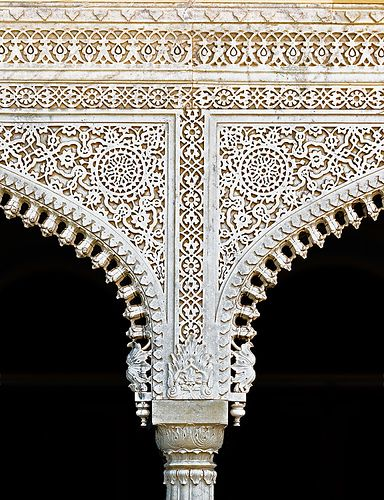 """""""Embroidery"""" in Marble - India, Jaipur - The Mubarak Mahal in the City Palace was a guest house for the Maharaja, 1890."""