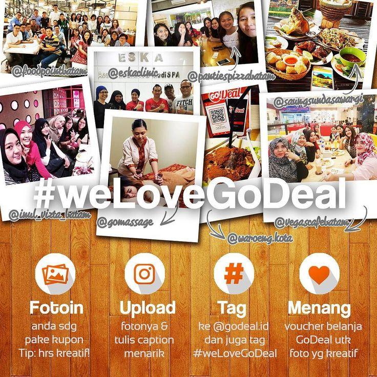 [We Love GoDeal Giveaways] Setelah begitu banyak kupon yg digunakan kami berharap teman2 bisa membagikan pengalaman menarik dalam menggunakan kupon GoDeal sambil membantu agar lebih banyak lagi orang yg tahu. Sebagai bentuk apresiasi kini kami ingin berbagi hadiah kepada GoDealers tercinta dengan memilih 3 orang pemenang mingguan utk mendapatkan Kupon Belanja Rp 100.000. Cara Berpartisipasi : 1. Ambil foto yg menunjukkan anda menikmati kupon GoDeal anda boleh foto kupon atau merchant atau…