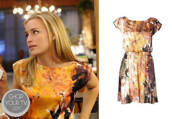 Annie Walker (Piper Perabo) wore this artfully-printed silk charmeuse dress with dropped dolman sleeves and blouson bodice in an episode of Covert Affairs.