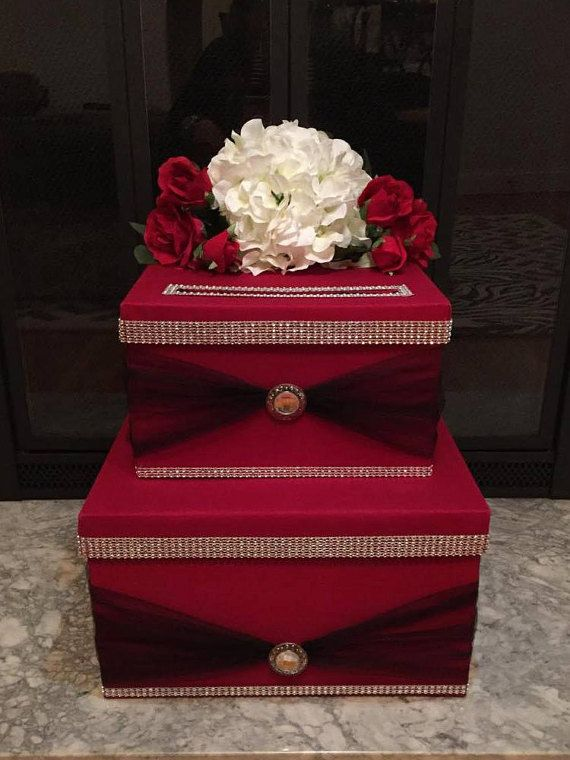 Red and Black Wedding Card Box With Hydrangea and Rhinestones by TwoCraftyMrs