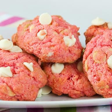 Pink Velvet White Chocolate Cookies: Take cake mix cookies to the next level of wow with pink velvet and white chocolate chips.