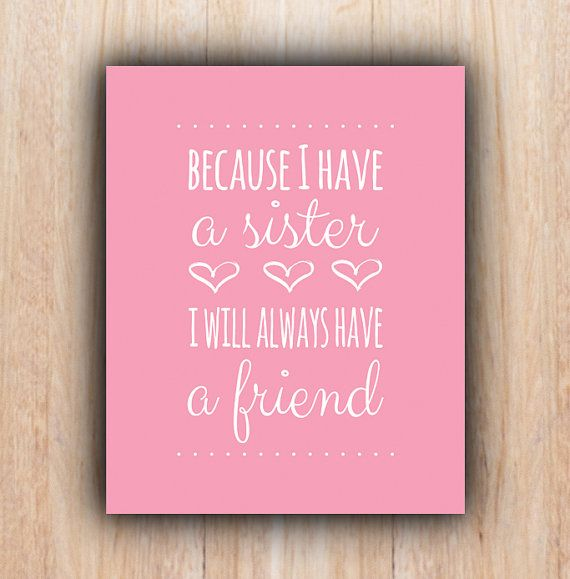 Sisters Quote, INSTANT download, pink, Nursery, sisters, Printable Art, Digital file, nursery wall art, printable sister quote, nursery art