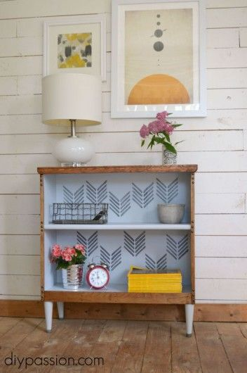 A DIY stenciled bookshelf using the Drifting Arrows Allover Stencil. http://www.cuttingedgestencils.com/drifting-arrows-stencil-pattern-diy-decor.html?utm_source=JCG&utm_medium=Pinterest%20&utm_campaign=Drifting%20Arrows%20Allover%20Stencil