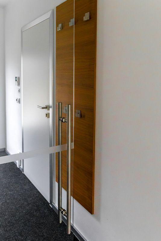Sliding glass door in hallway to stop the draft.