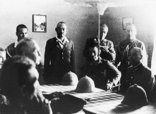 The surrender of the Dutch East Indies to the Japanese at Kalidjati military airport.
