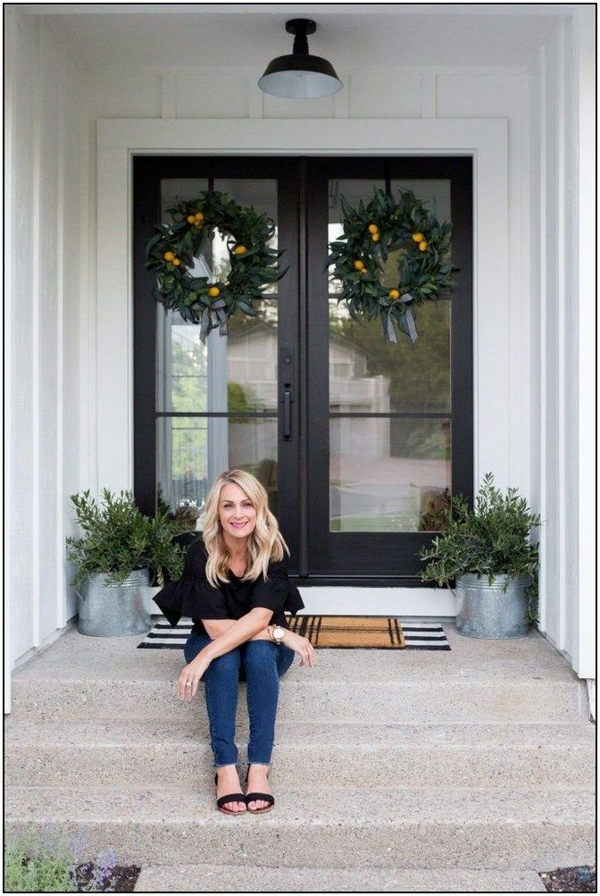 130 Gorgeous And Inviting Farmhouse Style Porch Decorating Ideas 108 Hometwit Com Exterior Front Doors House Front Door Double Front Doors