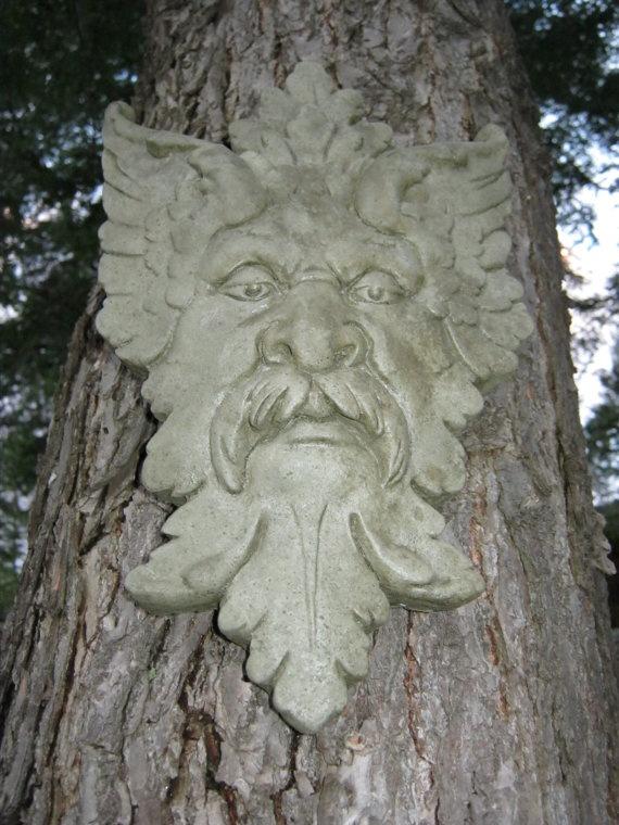 Green Man Garden Decor Hanging Face Concrete Garden
