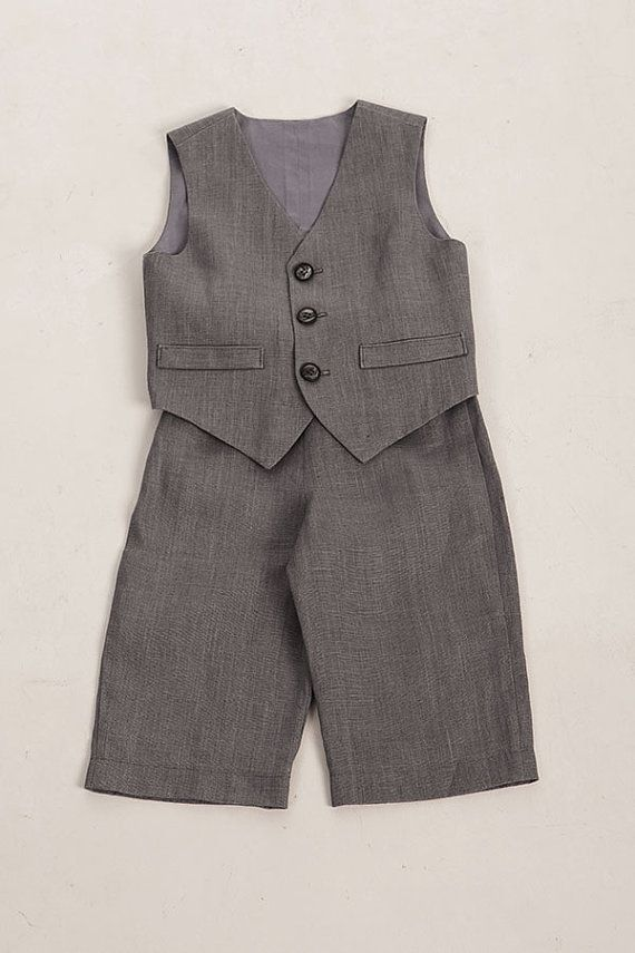 Kids boy linen suit, baby boy clothes, baby boys party suit, first birthday boy outfit, ring bearer baby boy, coal gray on Etsy, $80.00