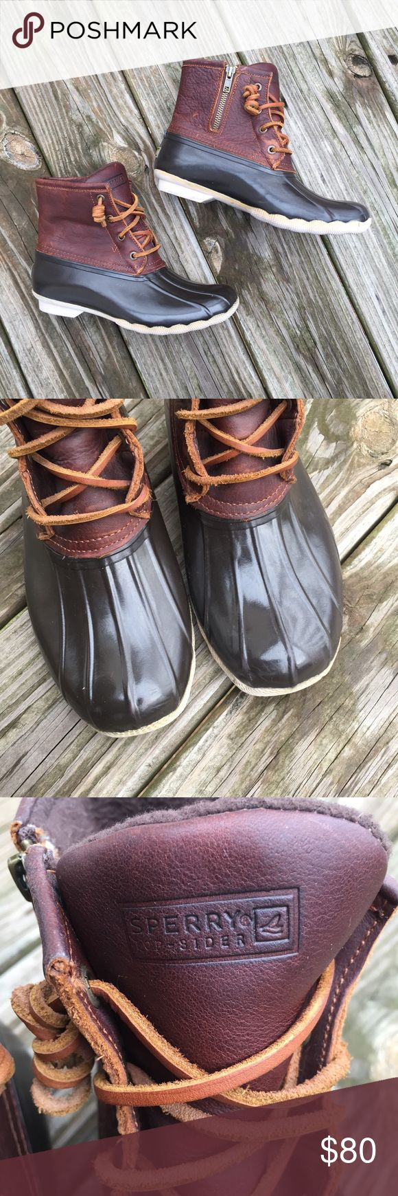 Sperry Saltwater Duck Boots Waterproof Sz 7 Condition: excellent pre-owned; No scuffs, rips, stains or holes; Pet and Smoke Free Home!! Please see ALL pictures for details and measurements. Waterproof! Sperry Top-Sider Shoes Winter & Rain Boots