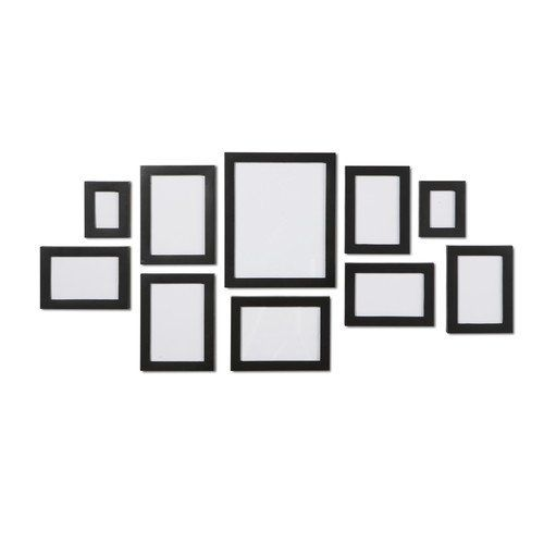 "Black 10 Piece Multi Collage Picture Frame Wall Set- 1: 8"" x 10"" - 3: 5"" x 7""- 4: 4"" x 6"" - 2: 2.5"" x 3.5"" by Macallen, http://www.amazon.co.uk/dp/B00GSQVXE2/ref=cm_sw_r_pi_dp_h6S6sb1T87F3T"