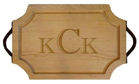 Custom Monogrammed Cutting Boards ~   Choose size, shape, font/ logo, handles, inscription on back...  My Favorite Things-Tallahassee, Florida  800.983.2266