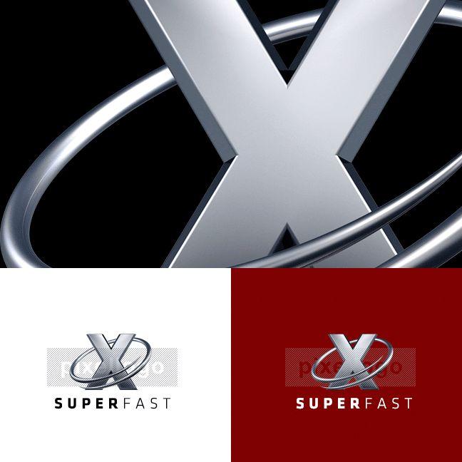 3D Metal X logo 3D-1024-X